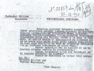 Adresa catre Penitenciarul Timisoara, 27.12.1950,privind debitul unor detinuti politici din lotul 3 Dobrogea