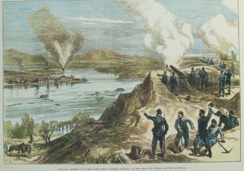 Aruncarea în aer a bărcii turcești de război a lui LUFTI DJELIL, văzută de la bateria rusească din Brăila, 1877.