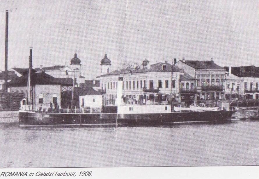 """Avizoul """"ROMÂNIA"""" în portul Galați (anul 1906)"""