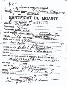 Ion Pitigoi - certificatul de moarte
