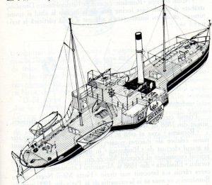 """Nava cu zbaturi """"România"""" (navomodel), vedere din pupa tribord)"""