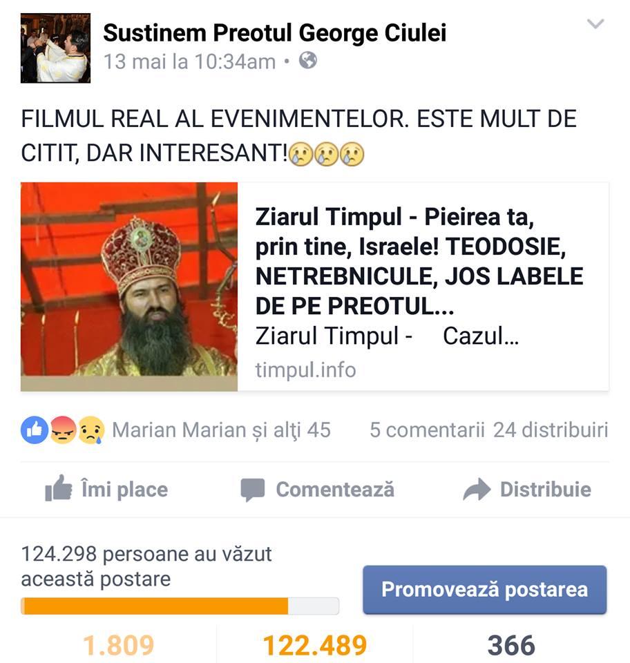 """Articolul """"Pieirea ta prin tine, Israele! Jos labele de pe preotul Ciulei"""" a avut, la data 17 mai 2016 , 124.298 vizualizări."""