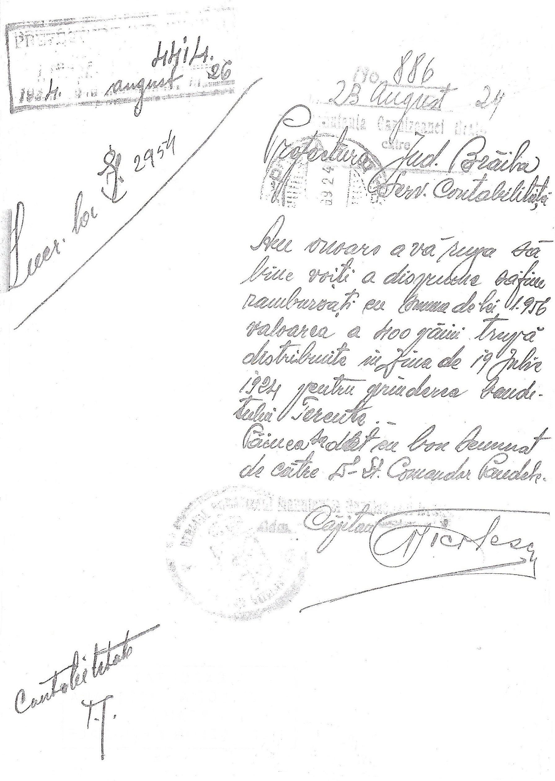 Adresa Manutanţei Garnizoanei Brăila pentru decontarea sumei de 1.956 lei, reprezentând contravaloarea a 400 pâini, distribuite în ziua de 19 Iulie 1924, pentru prinderea banditului Terente.