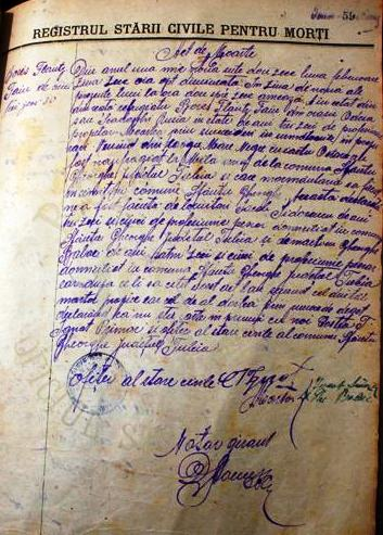 Actul de moarte emis de Primăria comunei Sfântu Gheorghe pe numele Boris Falz Fein.