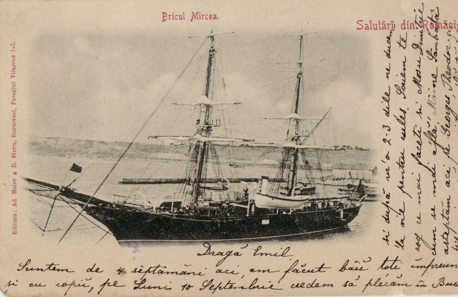 """Bricul """"Mircea"""" ilustrat pe o carte poștală."""