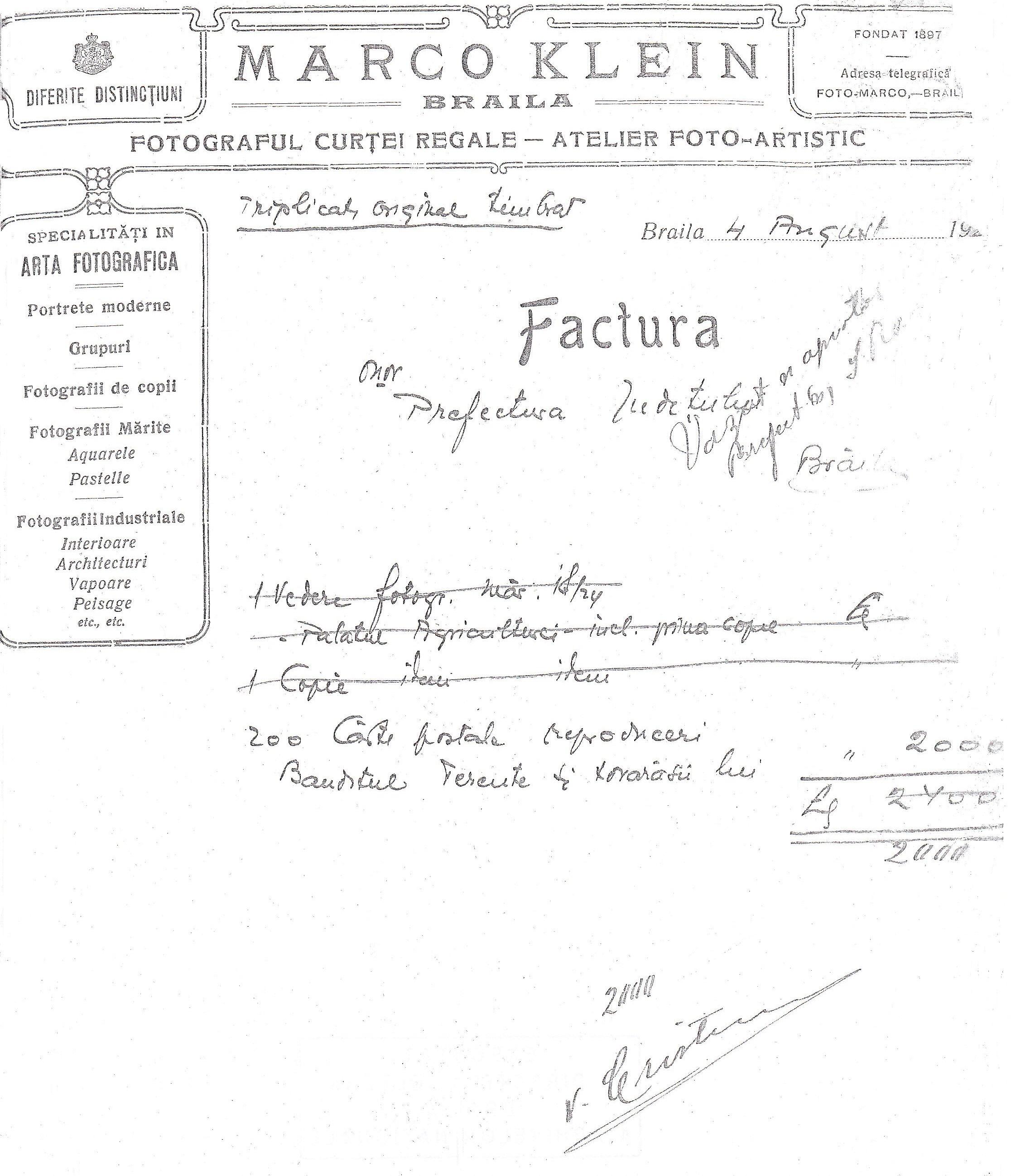 Factură pentru plata a 200 cărți poștale cu portretele lui Terente și ale compliclor săi, necesare pentru identificarea bandiților.