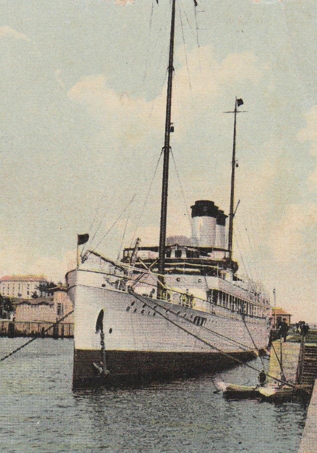 """Nava """"Dacia"""" în bazinul portului Constanța (ilustrată din august 1924."""