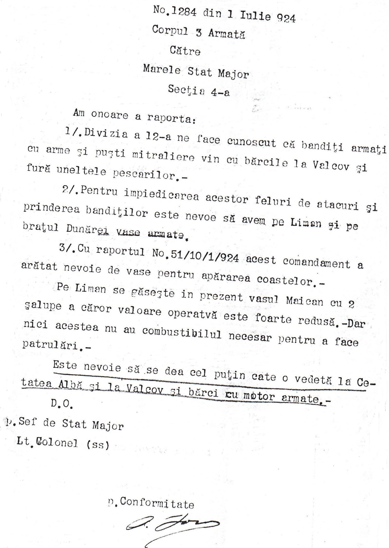 Raportul nr. 1284 din 1 iulie 1924 al şefului de Stat Major al Corpului 3 Armată către Secţia a 4-a a Marelui Stat Major.