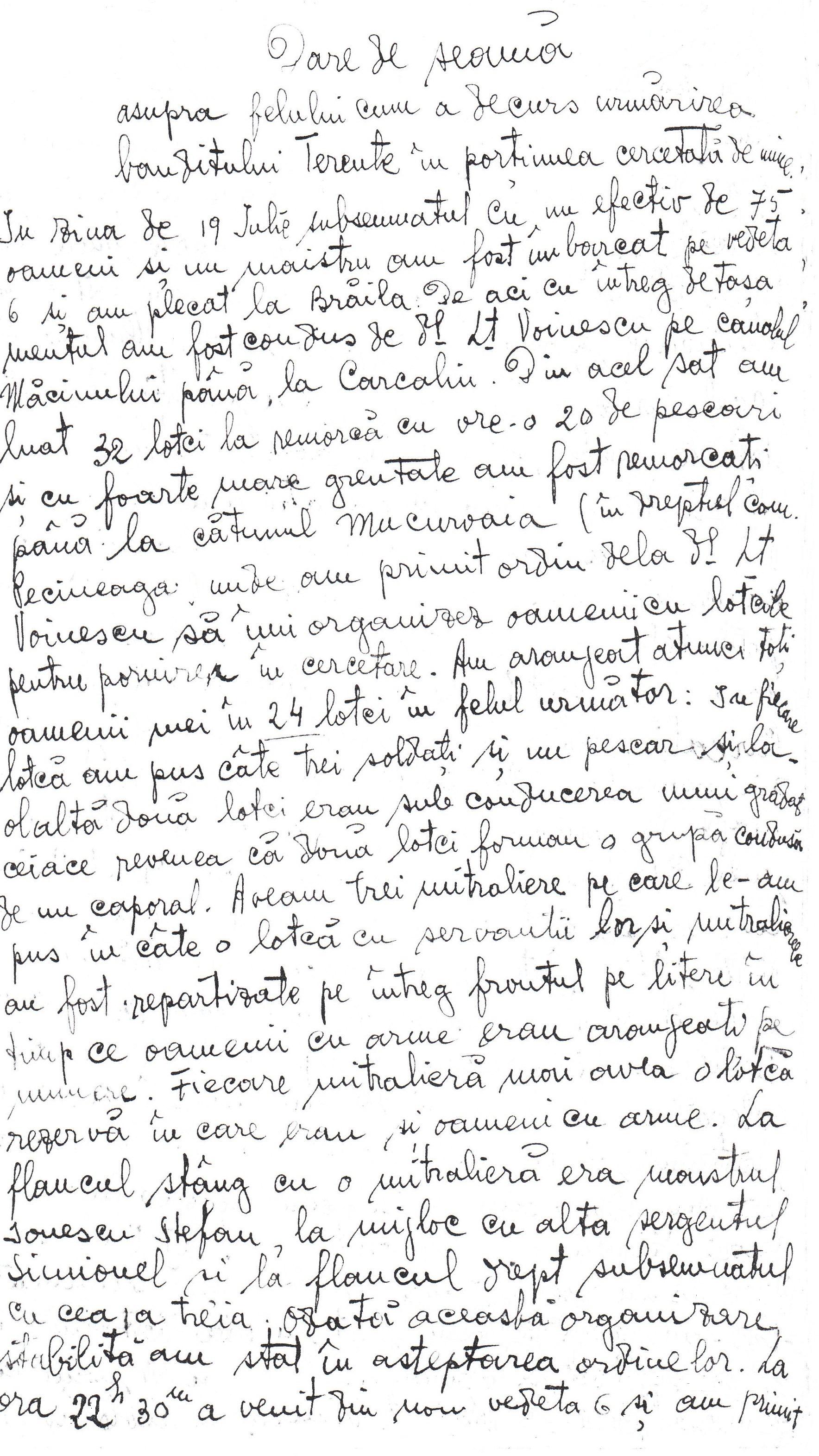 Dare de seamă a sublocotenentului Petru Ştefan Popescu despre acțiunea de urmărie a lui Terente în zilele de 19, 20 și 21 iulie 1924.
