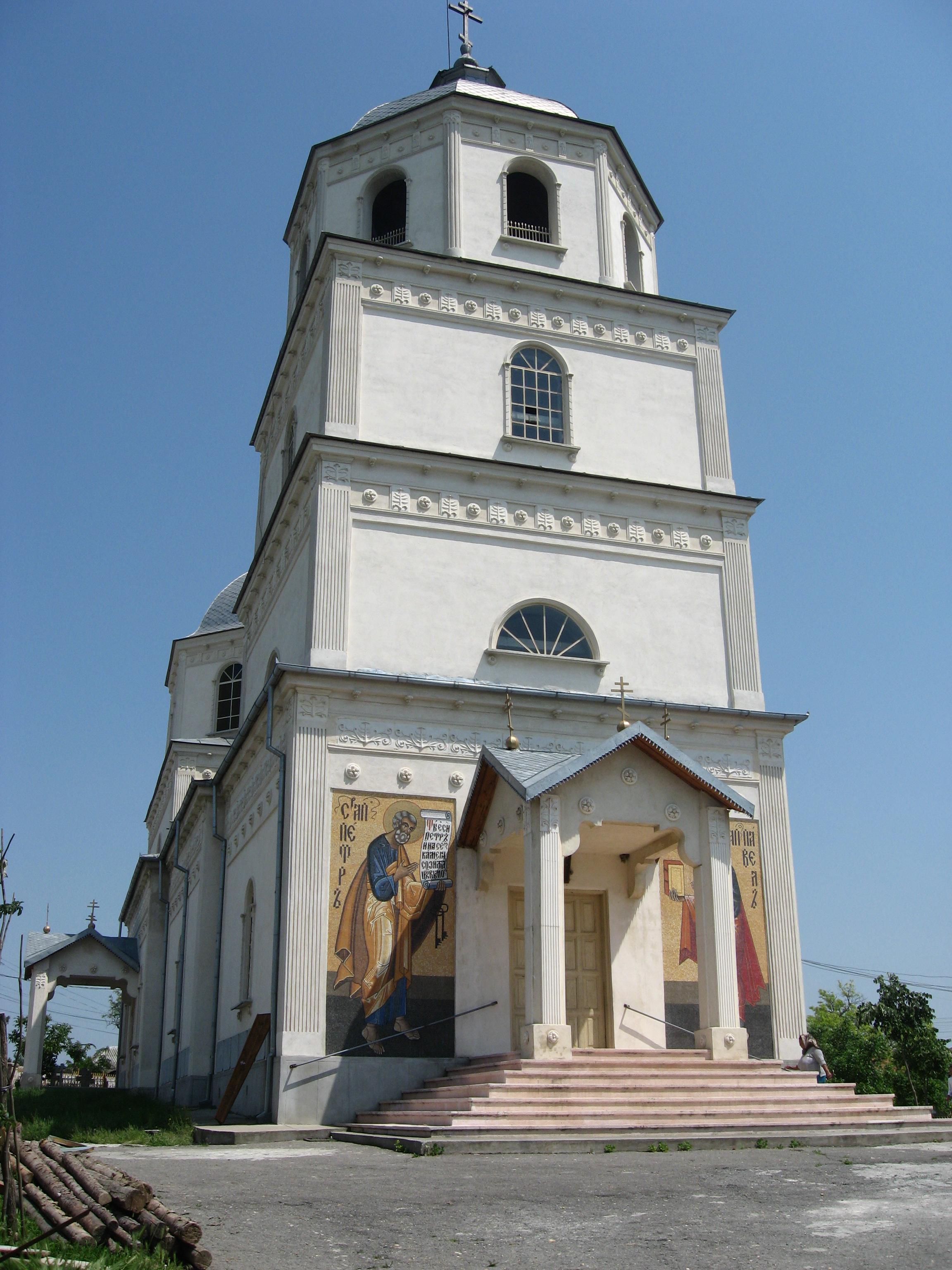 Biserica lipovenească din comuna Carcaliu, localitatea în care s-a născut Terente (foto din anul 2008).