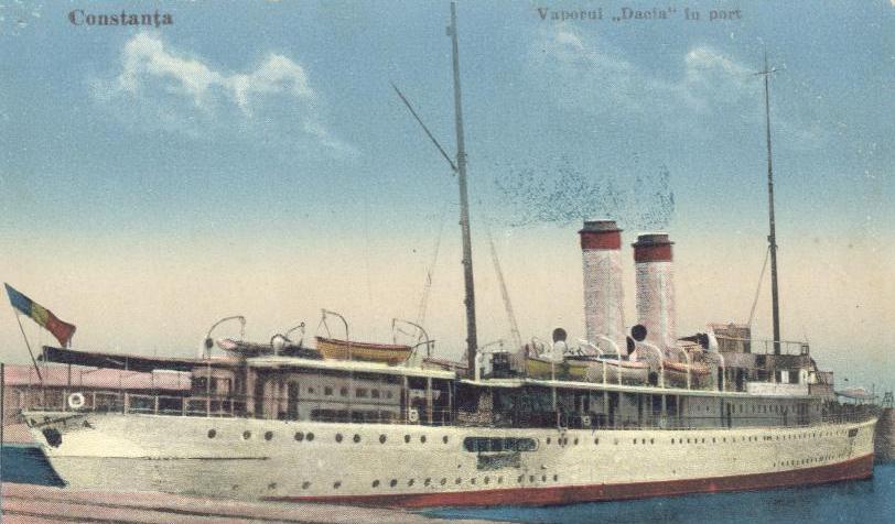 """Nava """"Dacia"""" în portul Constanța (1933)."""