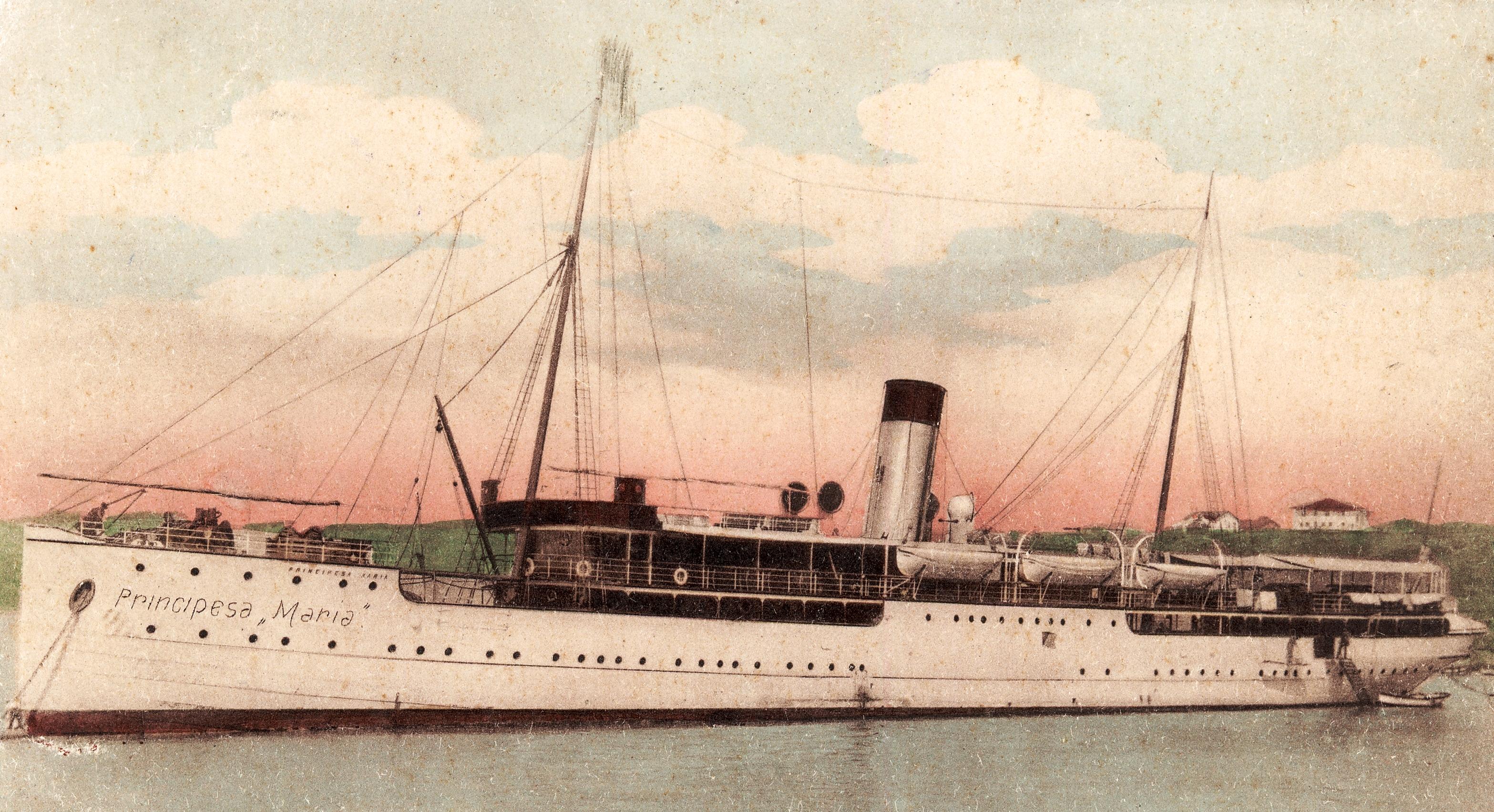 """Nava de pasageri şi poştă """"Principesa Maria"""" a intrat în serviciu în locul navei """"Meteor"""" (pavilion: România, 1.179 trb., construită în anul 1887), care, pe 22 februarie 1898, s-a scufundat în Marea Neagră."""
