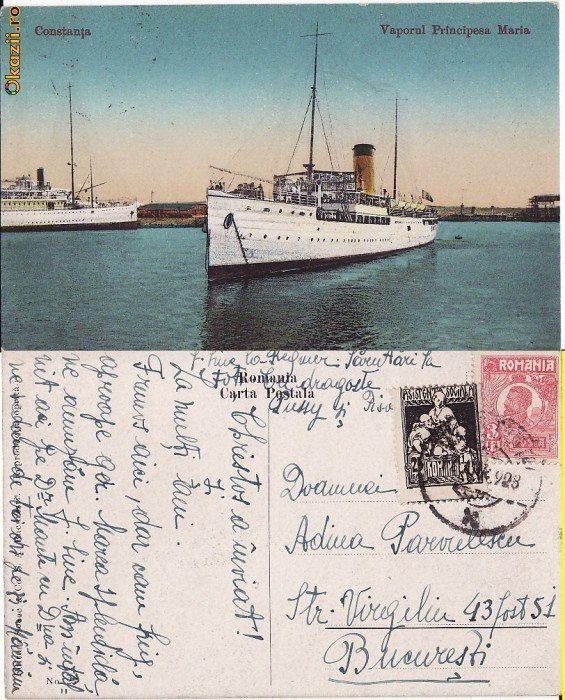 """Carte poștală din anul 1928 cu nava PRINCIPESA MARIA ancorată în portul Constanța: """"Christos a înviat și La mulți ani. Frumos aici, dar cam frig, aproape ger. Marea splendidă, ne amuzăm f. bine. Am întâlnit aici pe dr. Manta cu Doamna și ne vedem de trei ori pe zi. Mariana. Sărutări la toți. Pussy și Pisa."""""""