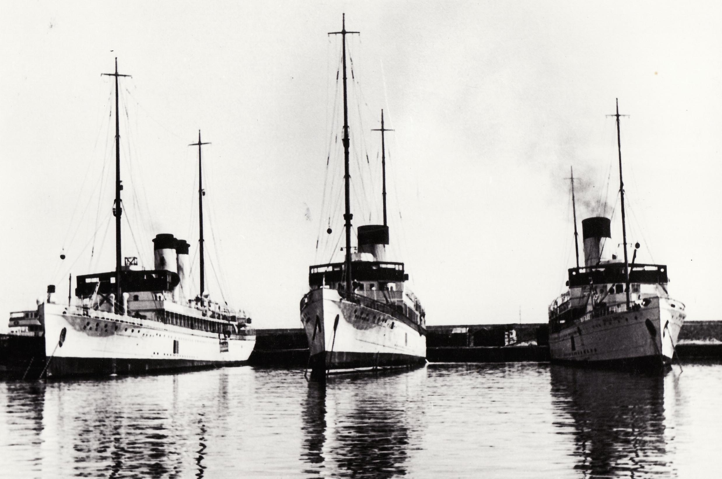 "Navele ""Dacia"", ""România"" și ""Regele Carol I"" (de la stânga la dreapta)."