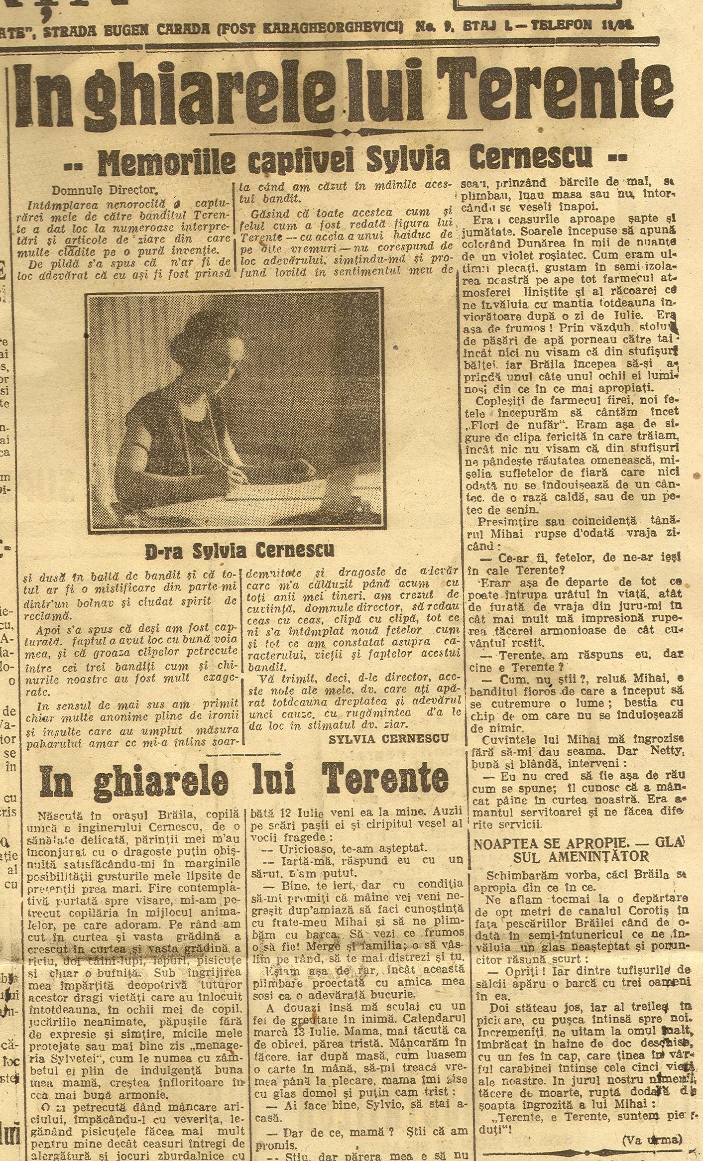 """Primul episod din serialul """"În ghiarele lui Terente"""", apărut în cotidianul național """"Dimineața"""", Anul XXI, No. 6448, Sâmbătă, 25 octombrie 1924, pag. 1."""