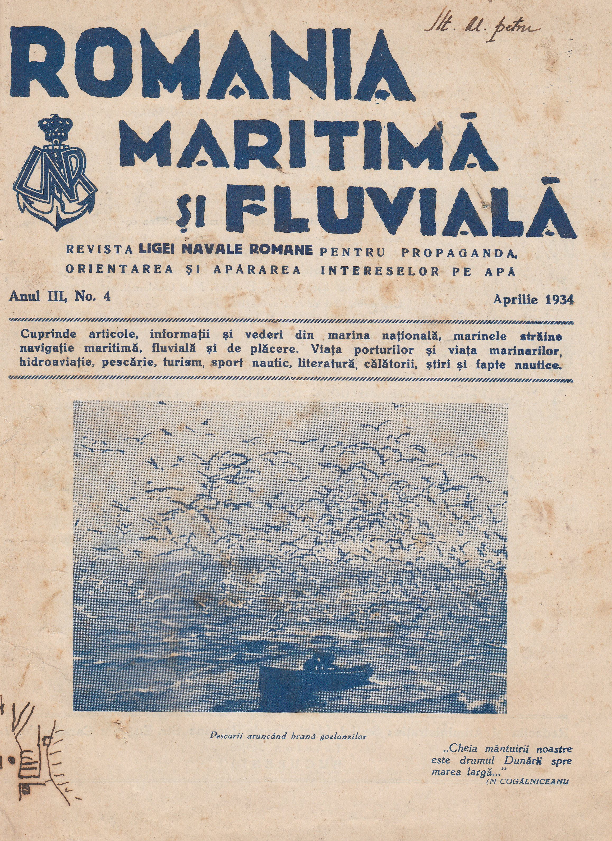 ROMANIA MARITIMA SI FLUVIALA nr.4 - aprilie 1934