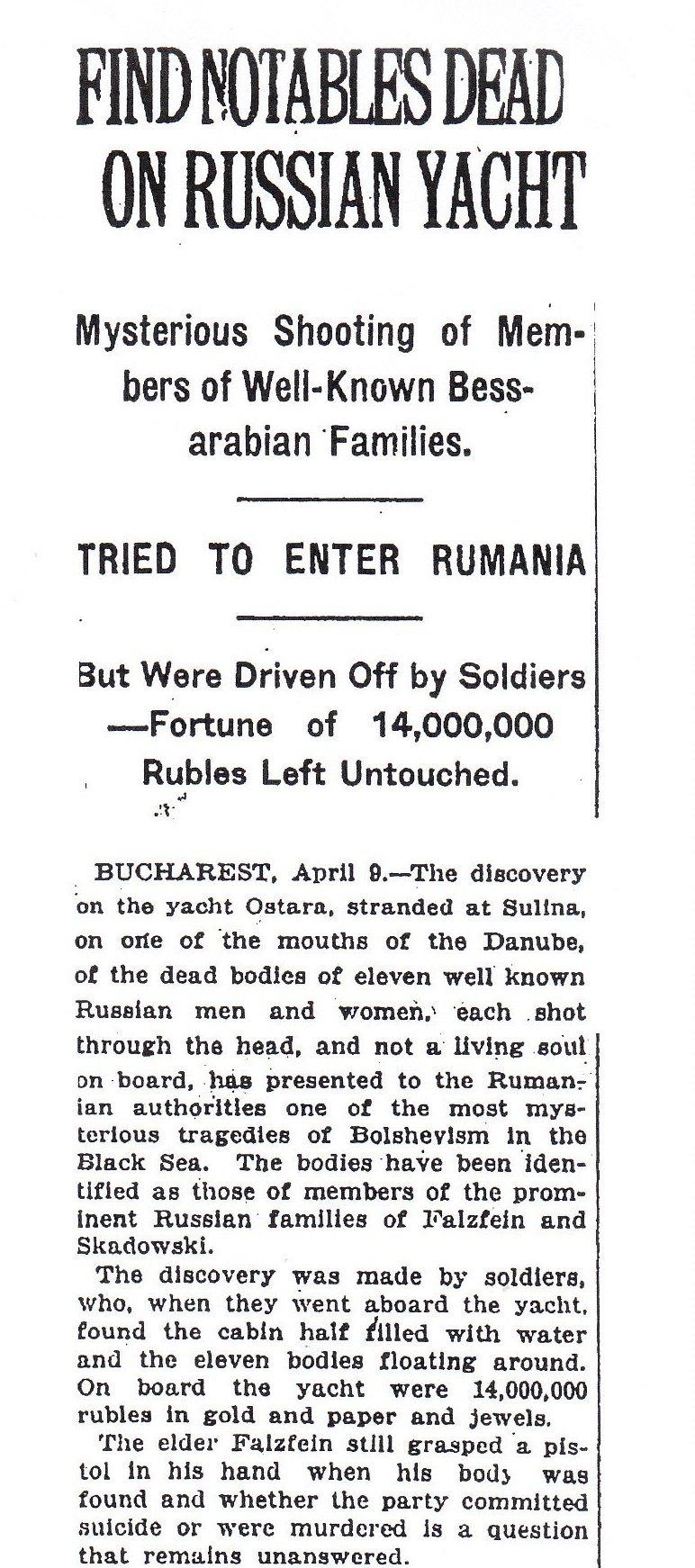"Știre din cotidianul ""New York Times"" din data de 17 aprilie 1920."