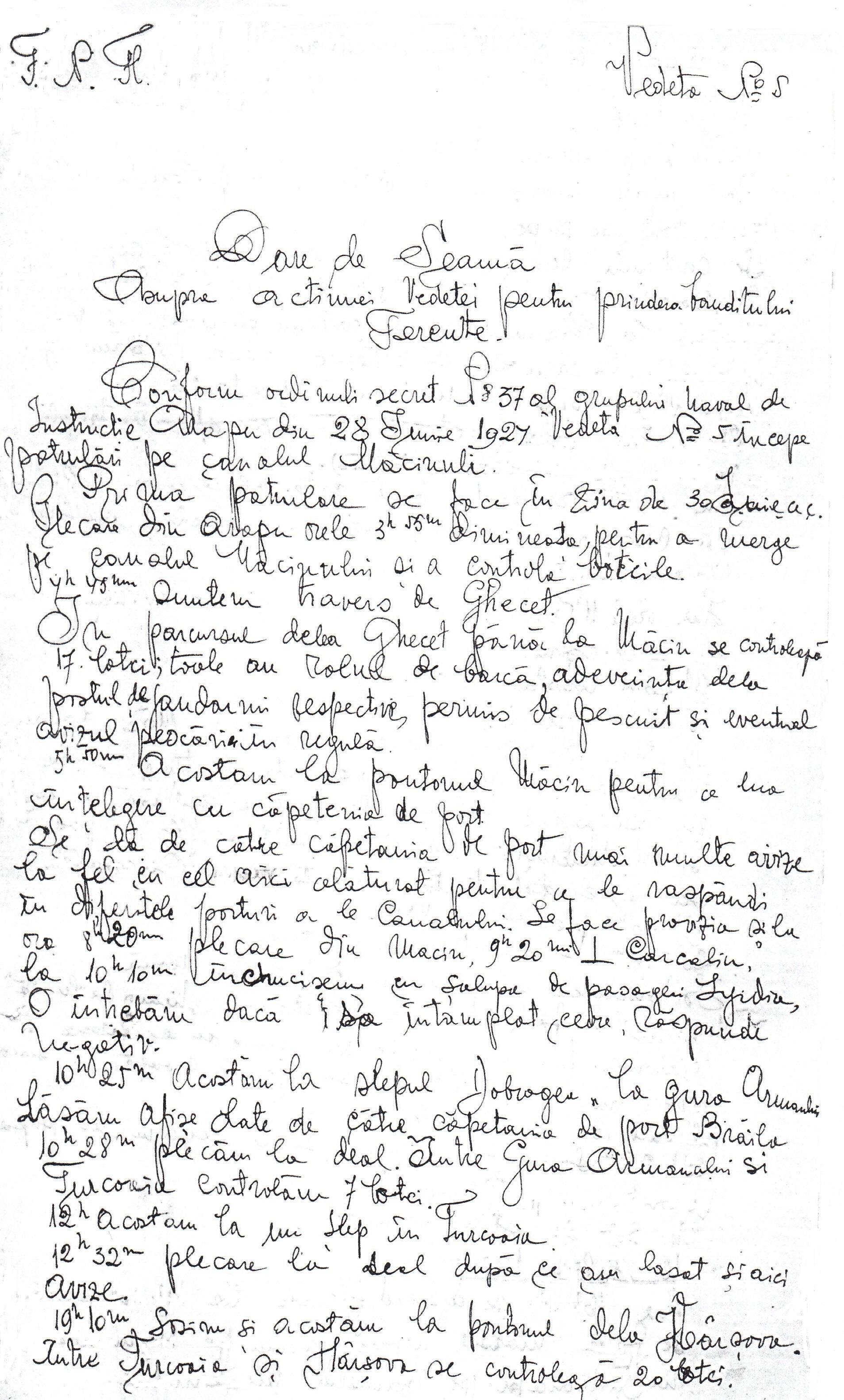 Raportul locotenentului Eugen Dimitriu, comandantul Vedetei Nr. 5.