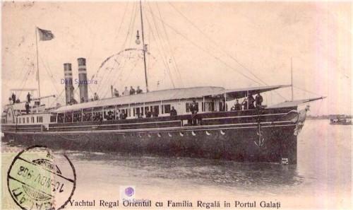"""Yachtul regal """"Orientul"""" cu familia regală în portul Galați."""