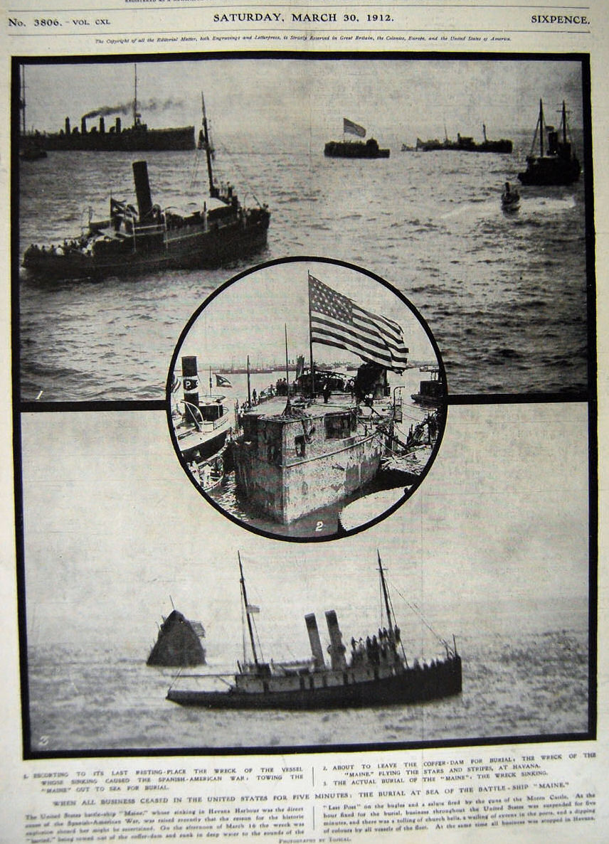 """Secvențe din timpul ranfluării epavei """"Maine"""" (martie 1912)."""