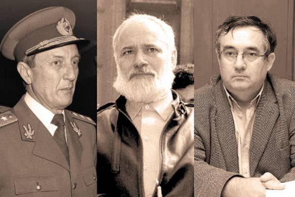 """General Victor Atanasie Stănculescu - """"generalul cu picor de ghips"""", Gelu Voican Voiculescu - cioclul soților Ceaușescu, și Dan Voinea - general și magistrat."""
