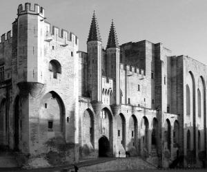 Faţada Palatului Papal de la Avignon, ridicat în timpul pontificatelor lui Benedictal XII-lea şiClement al VI-lea. El a adăpostitîn siguranţă curtea papală şi centrul administrativ până în 1377. Extravaganţele şi sistemul fiscal al curţii papale au fost extrem de criticate în Europa.