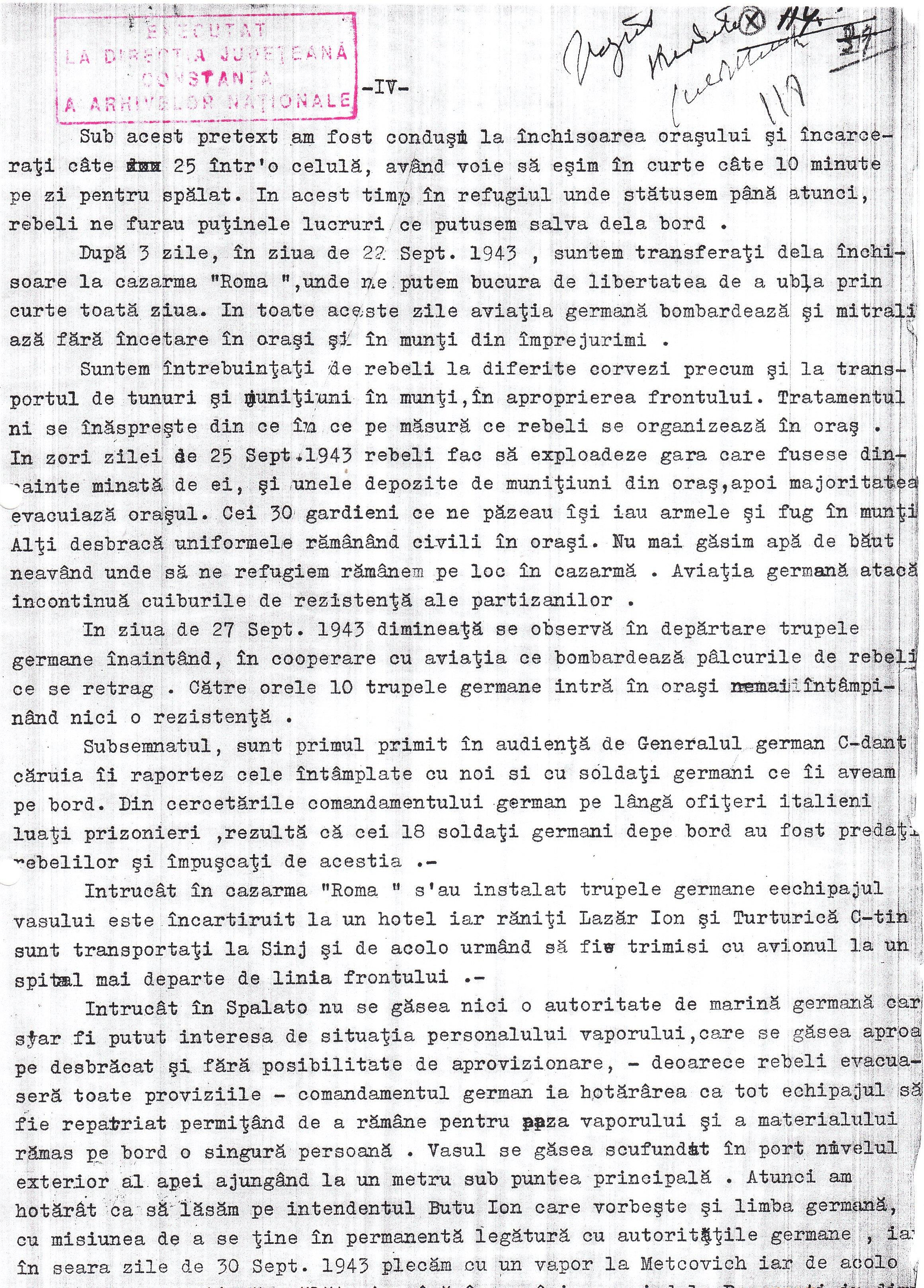 """Protestul de Mare , depus de Alexandru Filipan, comandantul navei """"Balcic"""" (pagina 4)."""