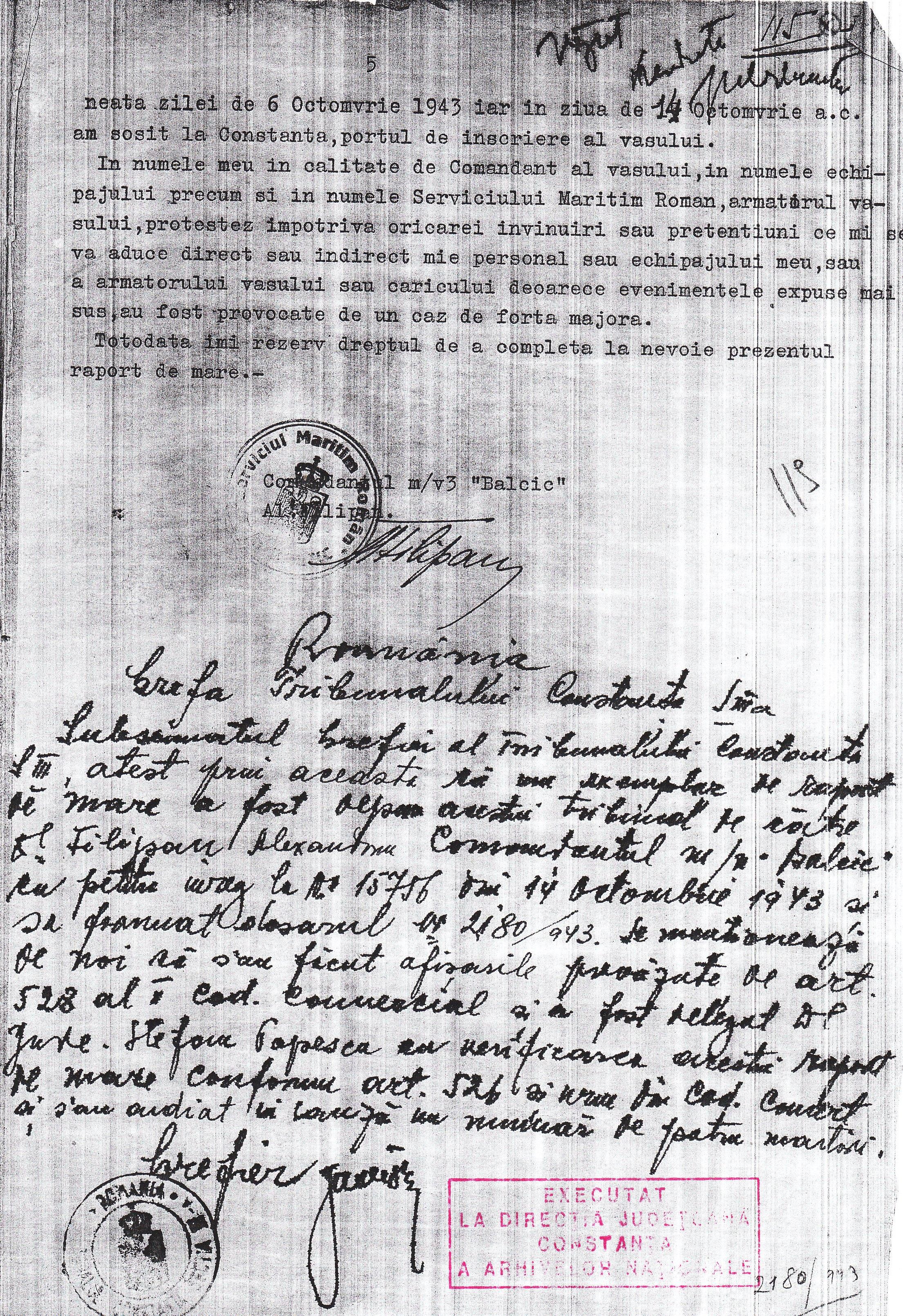 """Protestul de Mare , depus de Alexandru Filipan, comandantul navei """"Balcic"""" (ultima pagină)."""