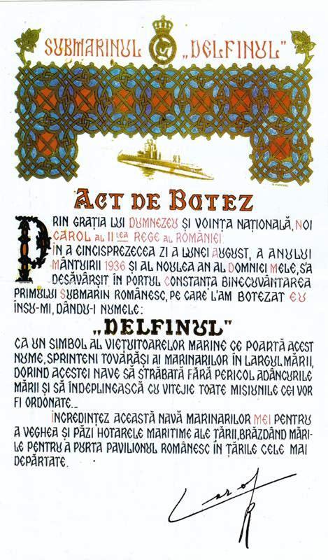 """Actul de botez al submarinului """"Delfinul"""" (după revista """"Marea Noastră pentru tineret"""", nr. 8 (1)/ 2002). Originalul se află într-o colecție particulară din Germania!"""