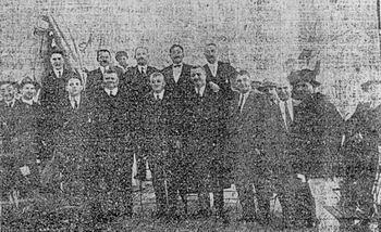 """Delegația orașului Alba Iulia la botezul navei """"Alba Iulia""""."""