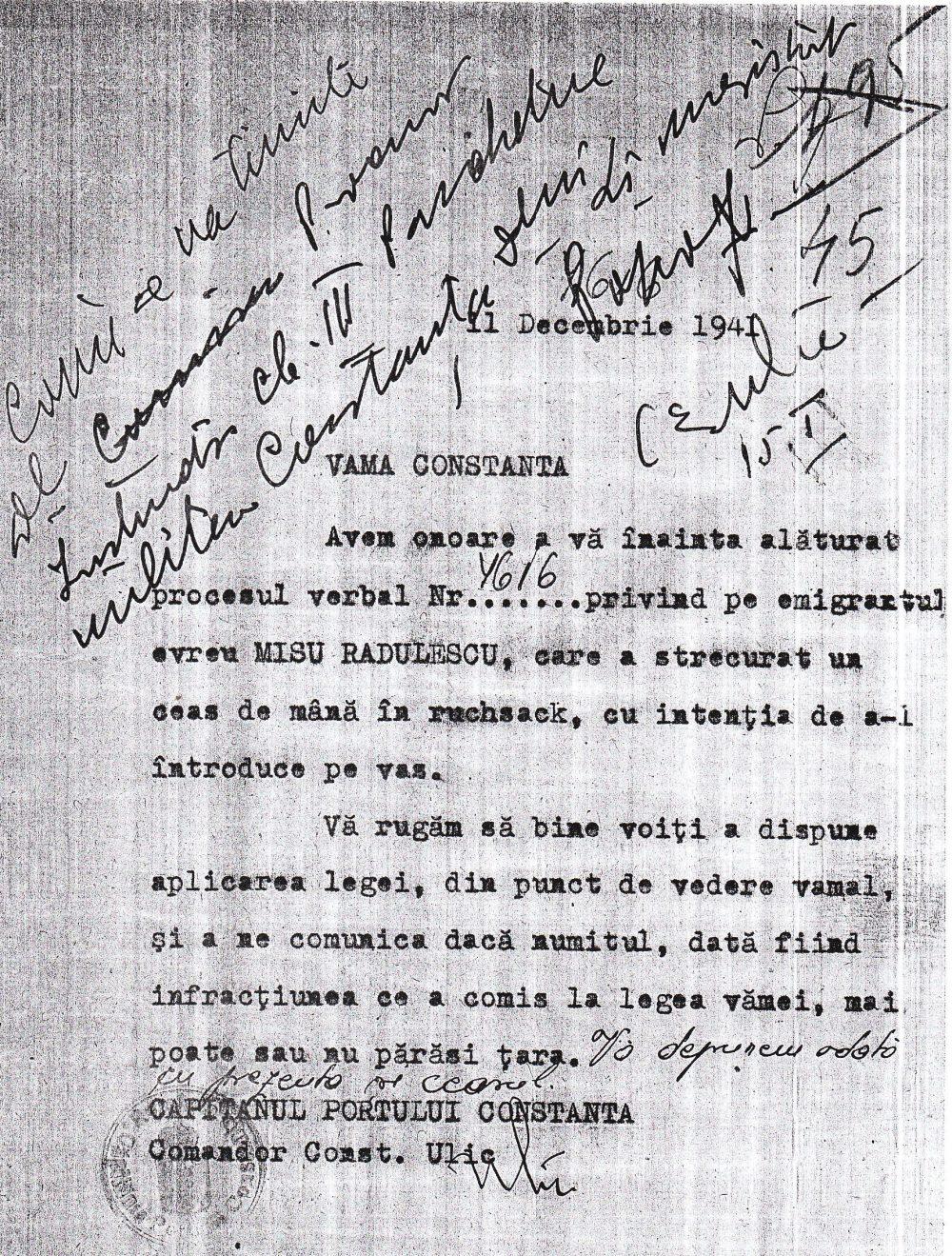 Emigrantul Mișu Rădulescu a strecurat un ceas în bagajele altui tovarăș de călătorie.