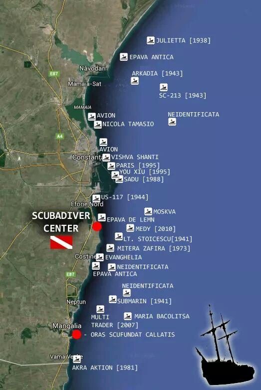 Harta localizării epavelor în zona litoralului românesc al Mării Negre.