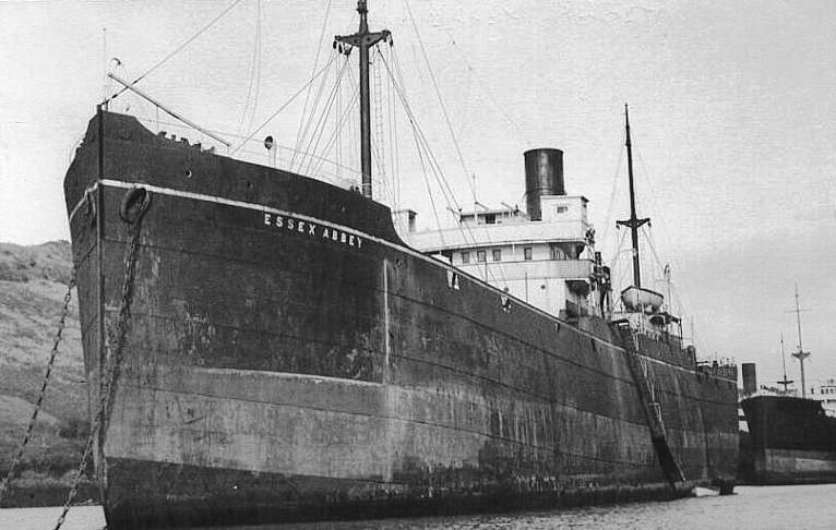 """Cargoul """"Essex Abbey"""". Nava a fost cumpărată în anul 1932 de căpitanul Spiridon Vlassopol din Brăila și botezată cu numele și în memoria tatălui său, """"Ing. Nicolae Vlassopol"""", fost director al C.F.R."""