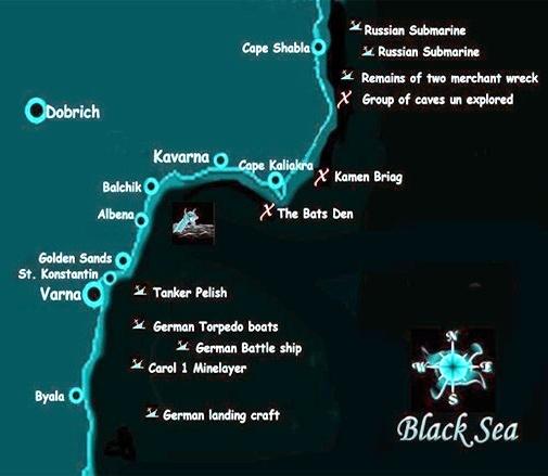 """Harta litoralului bulgăresc, cu locurile unde s-au scufundat navele """"Peleş"""" şi """"Regele Carol I""""."""