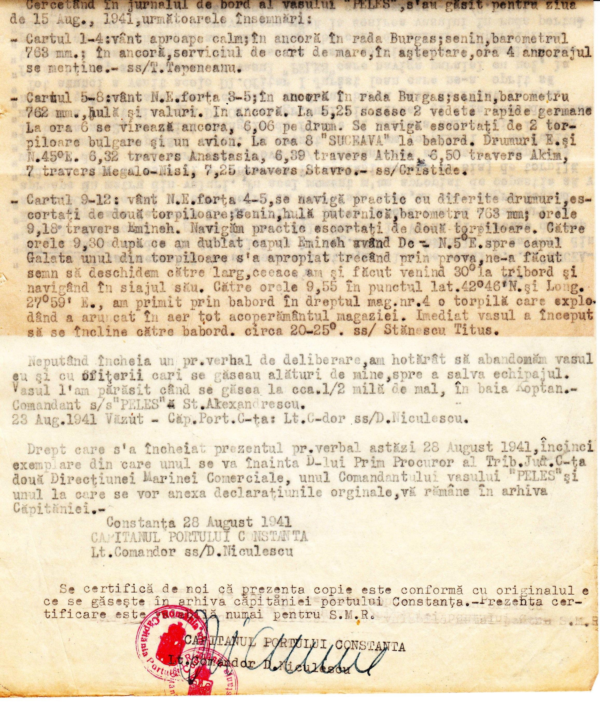 """Ultima pagină a Raportului de Mare întocmit de Ștefan Alexandrescu, comandantul navei mixte """"Suceava""""."""