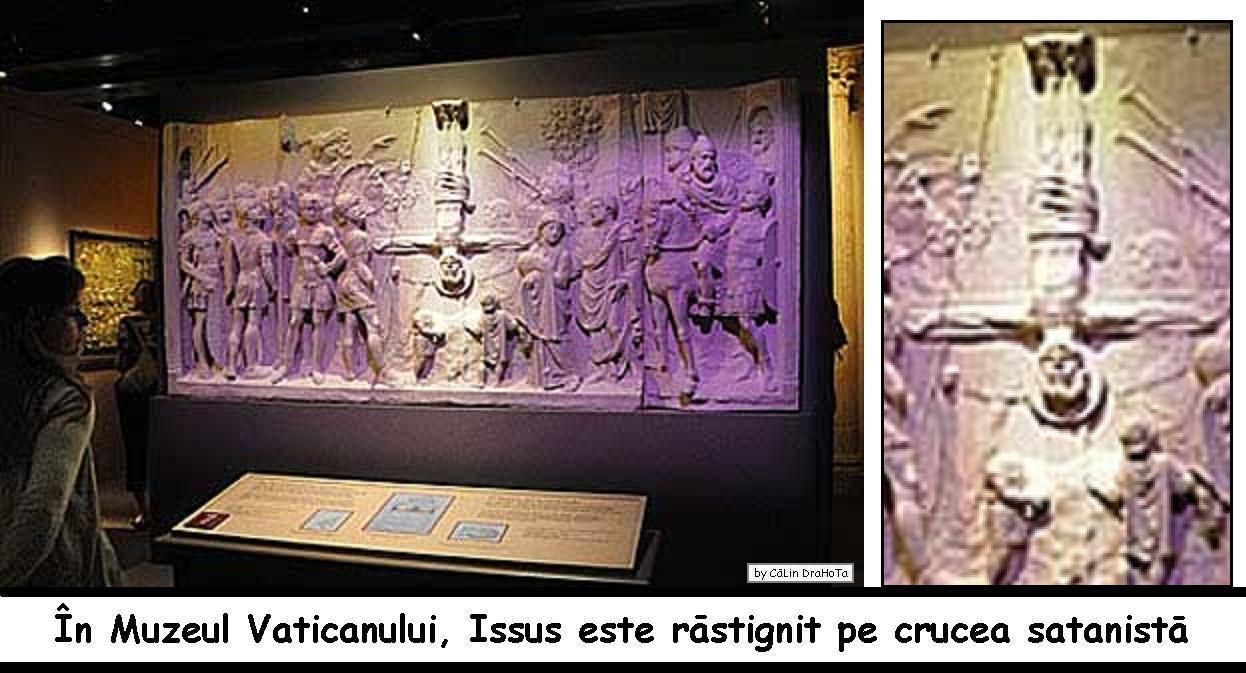 Iisus răstignit pe crucea satanistă