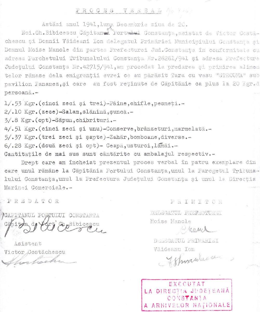 """Proces verbal de confiscare a unor bunuri ale pasagerilor. de pe """"Struma"""" la plecarea din portul Constanța."""