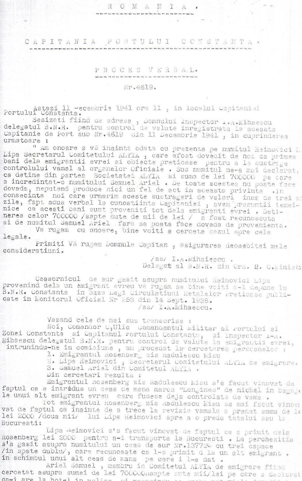 Proces verbal de constatare a faptului ca numitul Lipa Heimovici primea bani de la emigranți.