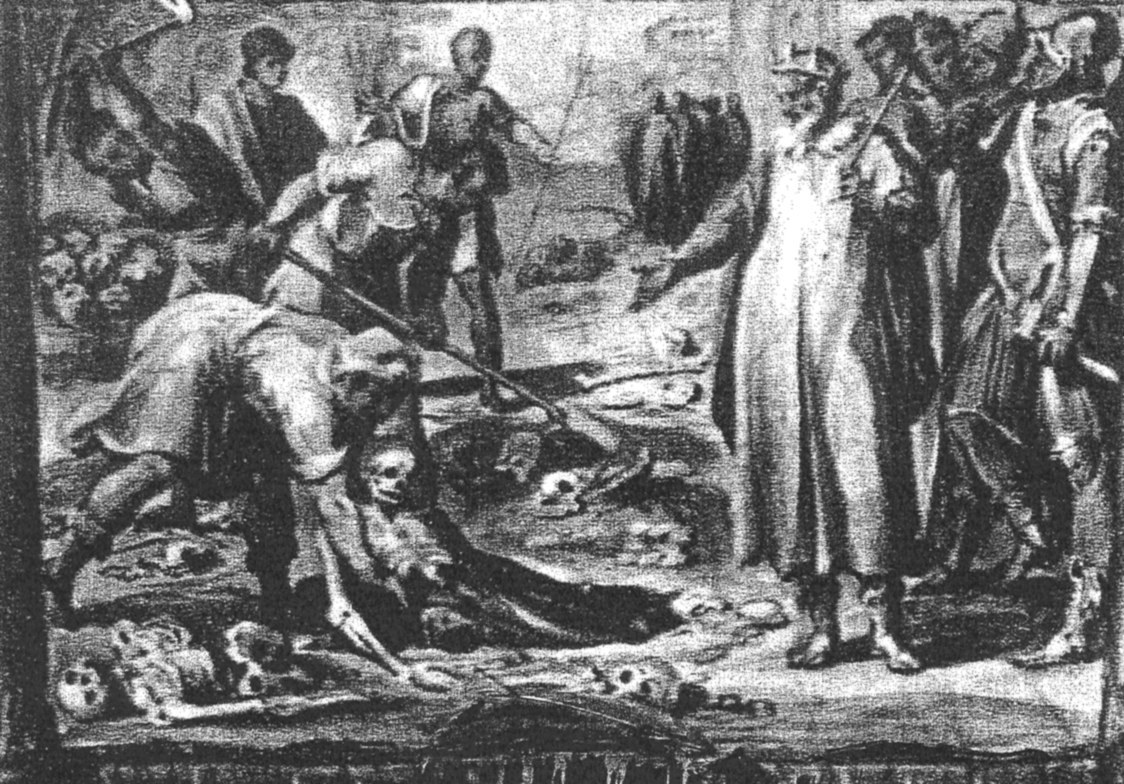 """Această pictură rară, reprodusă dintr-o ediţie din secolul al XVII-lea a lui Antapodosis, un text vechi de o mie de ani, scris de episcopul Liutprand de Cremona, mort în anul 972, îl reprezintă pe papa Ştefan al VII-lea (al VI-lea) supraveghind exhumarea cadavrului papei Formosus în vederea procesului. Un detaliu interesant al acestei picturi este boneta papei, care aminteşte de """"coroana cu coarne"""" purtată de clanul Cezar."""