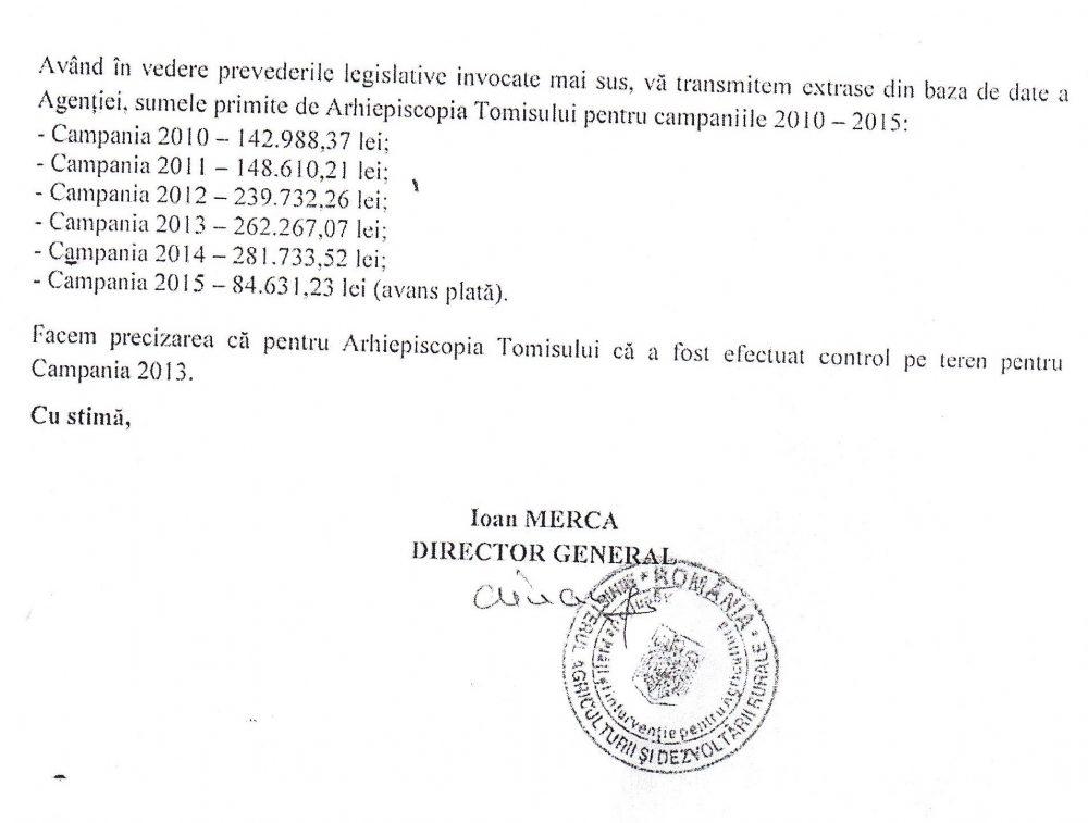 Răspunsul A.P.I.A. (15 februarie 2015) din care reies sumele achitate ca subvenții către Arhiepiscopia Tomisului, pentru pământuri lăsate pârloagă.