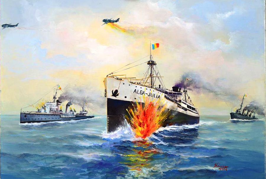Din Protestul de Mare al comandantului navei: Ț(...) A doua torpilă probabil a atins corpul vasului în dreptul magaziei nr. 2 (...). Pictură de Alexandru Ghinea.