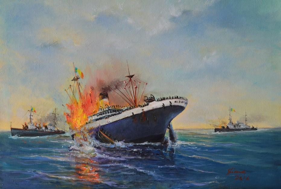 """Nava mixtă """"Alba Iulia"""" sub atacurile aviației sovietice (pictură de Alexandru Ghinea)."""