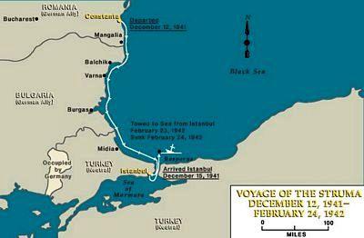 """Traseul urmat de """"Struma"""" de la Constan'a la Istanbul."""