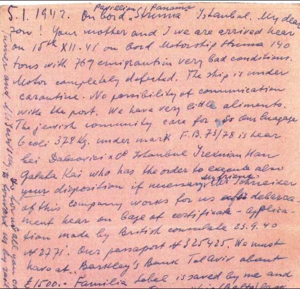 """Ultima scrisoare a unui pasager aflat la bordul navei """"Struma"""", purtând data de 5 ianuarie 1942"""
