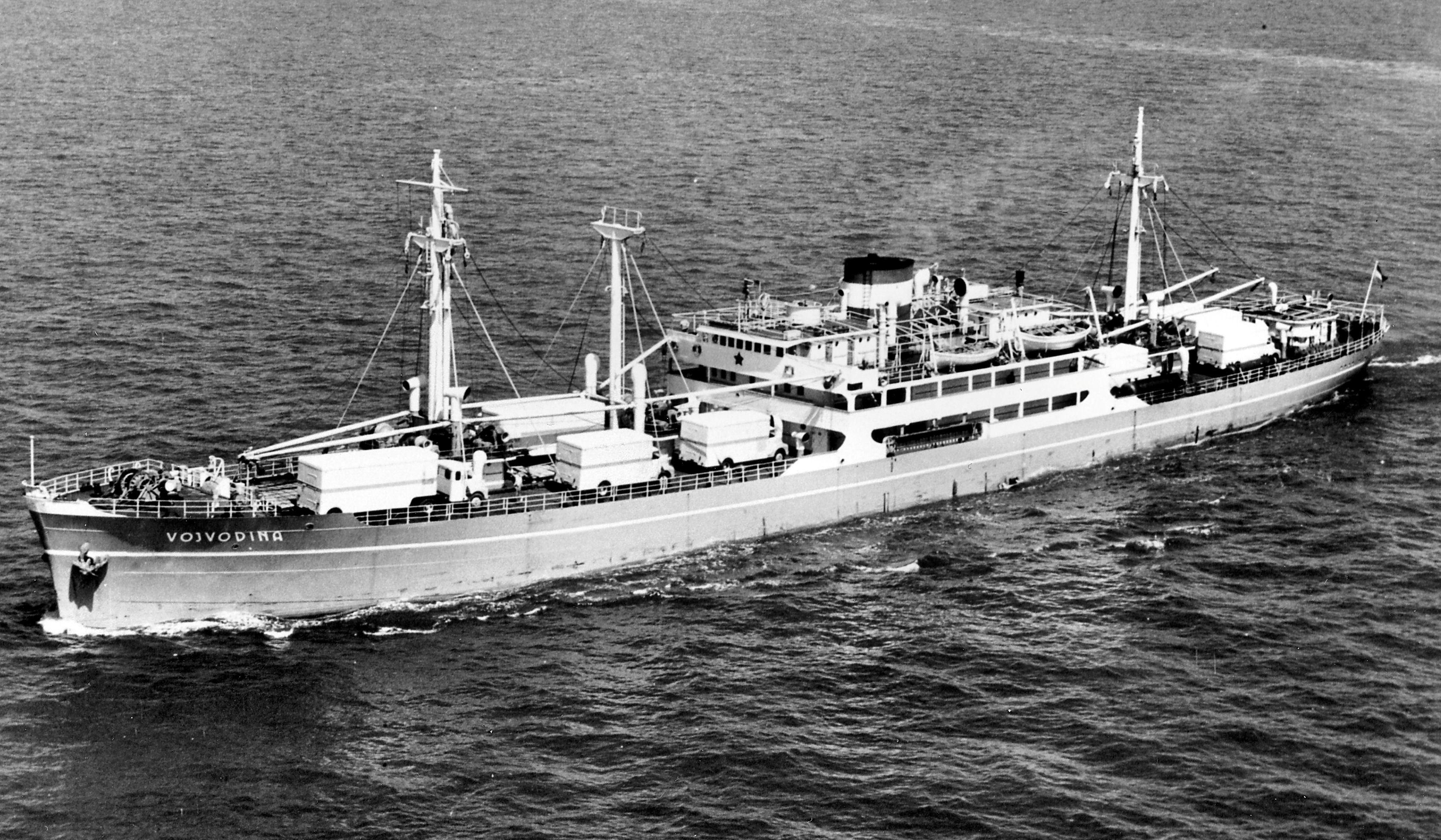 """Cargoul """"Vojvodina"""", ex-""""Balcic"""", în iunie 1940. Nava a fost tăiată în iulie 1979."""