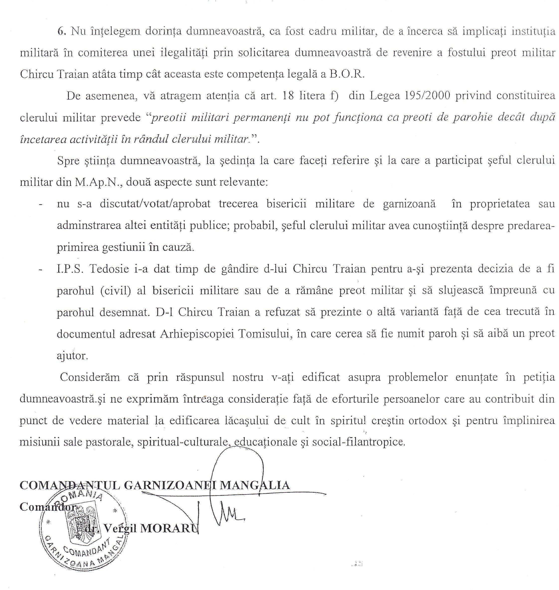 Scrisoarea de răspuns a c-dorului Vergil Moraru la acuzațiile grave primite de la maistrul militar (r) Ioan Ababei (pag. 3).