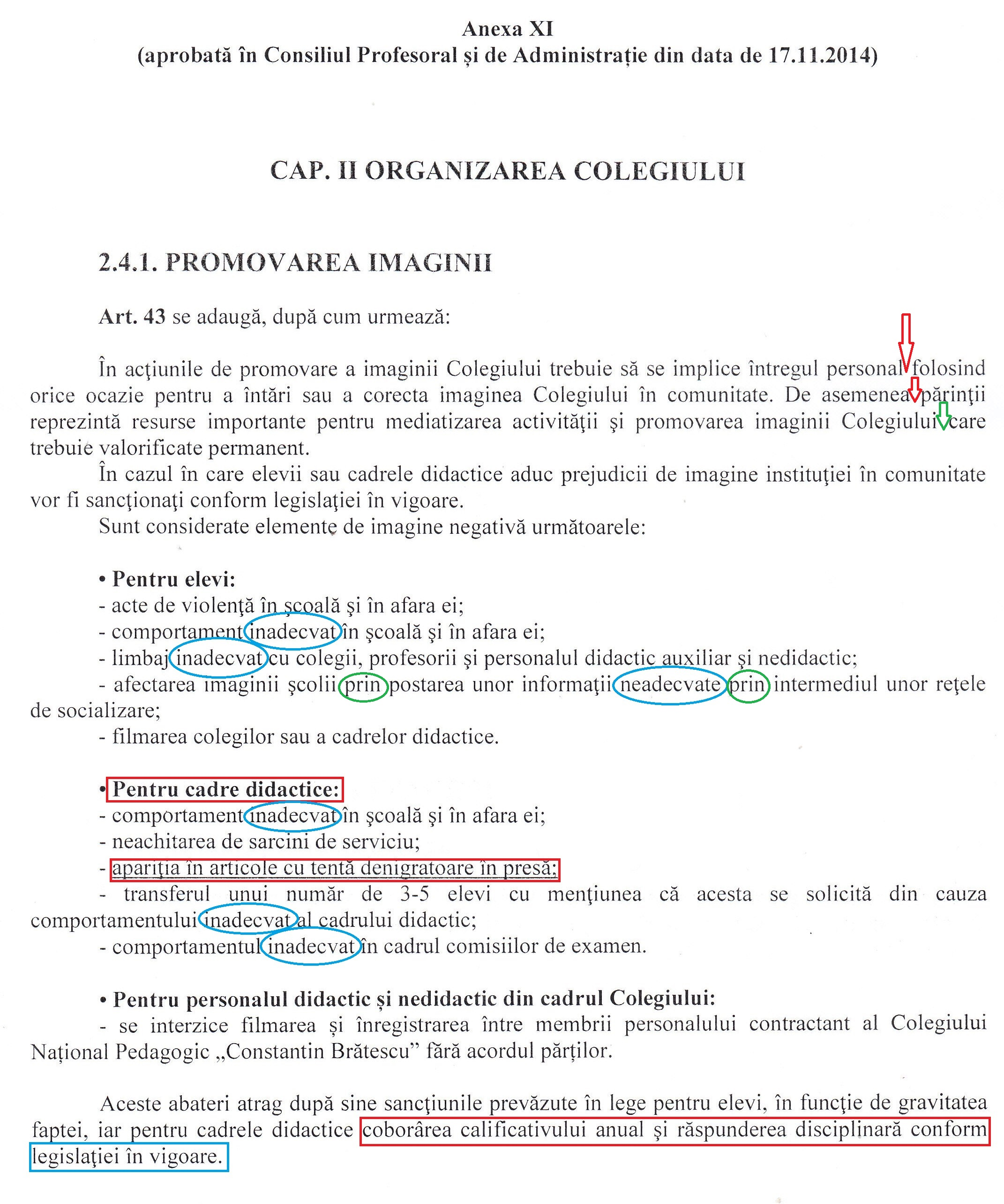 Anexa XI din Regulamentul de Ordine Interioară al Colegiului Național Pedagogic Constanța abundă în greșeli.