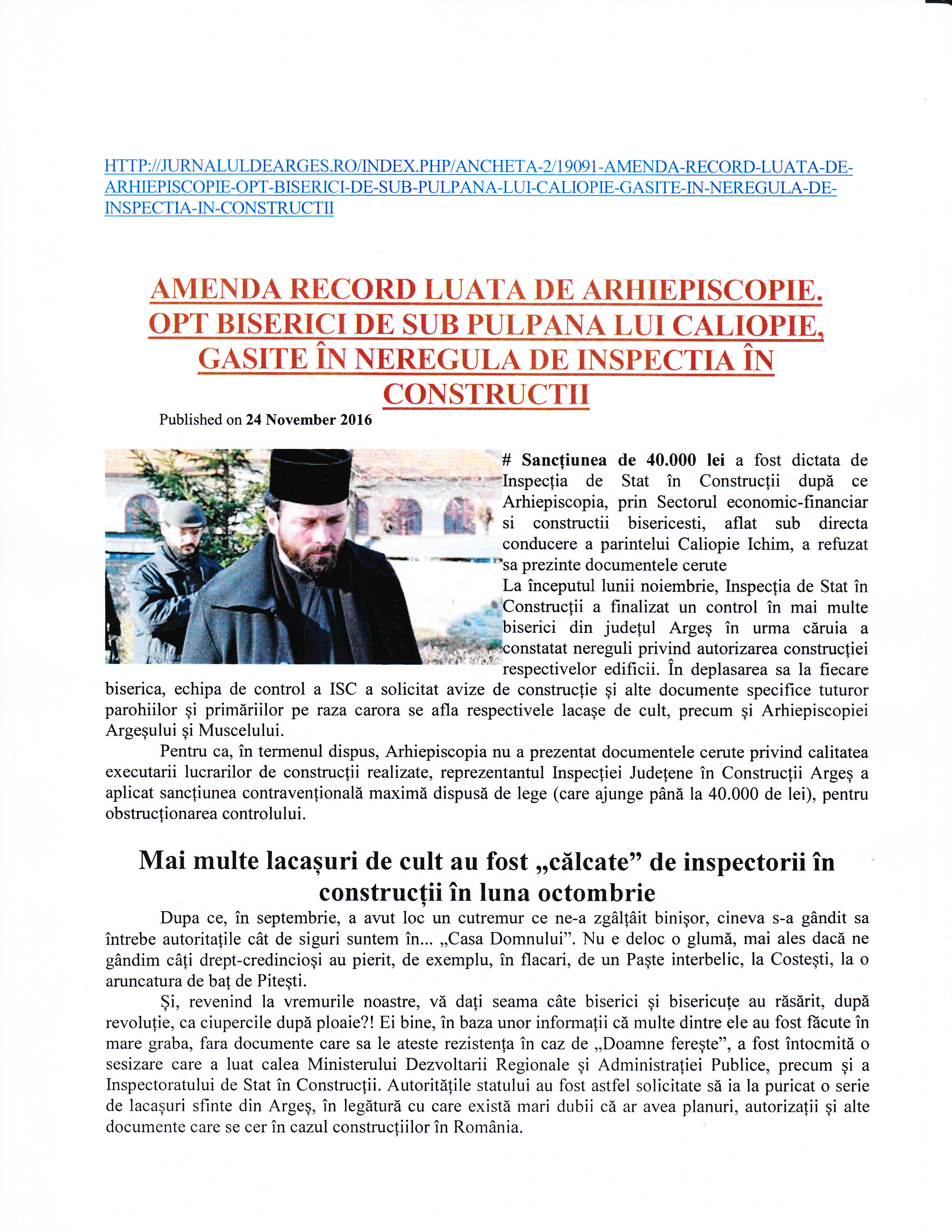 """Articolul """"Amendă record luată de Arhiepiscopie. Opt biserici de sub pulpana lui Caliopie, găsite în neregulă de Inspecția în Construcții (""""Jurnalul de Argeș"""")."""
