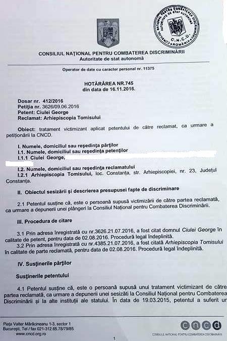 Hotărârea nr. 745 din 16.XI.2016 a Consiliului Național pentru Combaterea Discriminării.