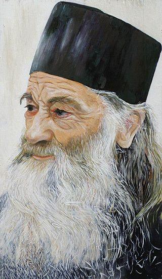 Părintele Justin Pârvu (pictură în ulei pe lemn, realizată de Paul Mecet, în 1999).